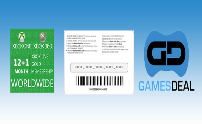 Xbox Live 12+1 Month Gold Membership Card with bonus