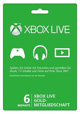 Xbox Live 6 month Gold Subscription Card (Xbox 360/Xbox One)
