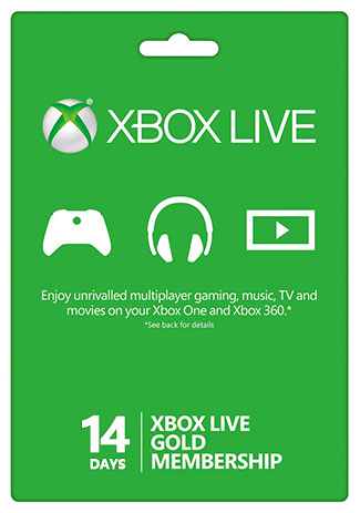 Xbox Live 14 Days Gold Membership Trial Card