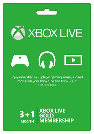 Xbox Live 3+1 Month Gold Membership Card (Xbox one/360)